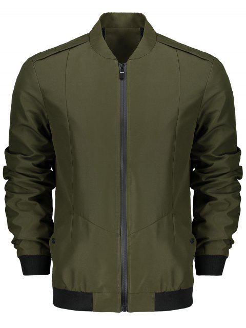 Stand Collar Zip Fly Jacket - Ejercito Verde 3XL Mobile