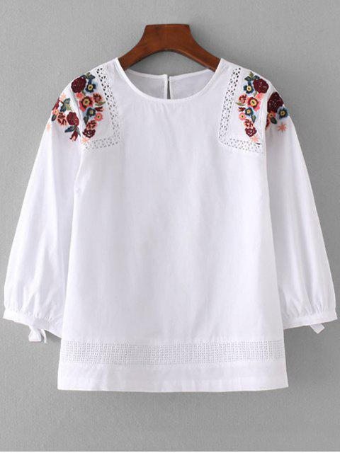 shop Loose Sheer Floral Embroidered Blouse - WHITE S Mobile