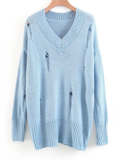 latest Oversized Destroyed V Neck Sweater - LIGHT BLUE M Mobile