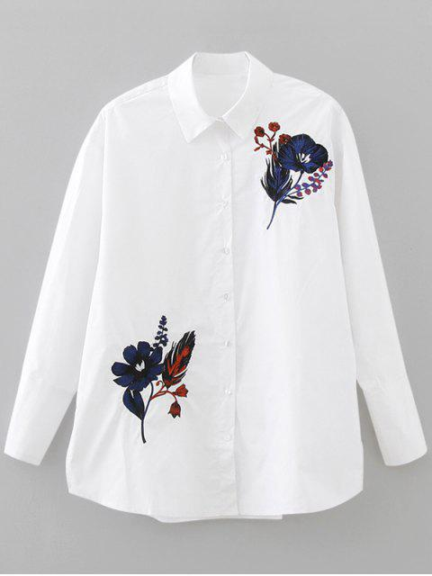 fancy Button Down Loose Embroidered Shirt - WHITE S Mobile