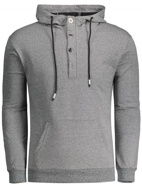 online Half Button Heathered Hoodie - LIGHT GRAY 2XL Mobile