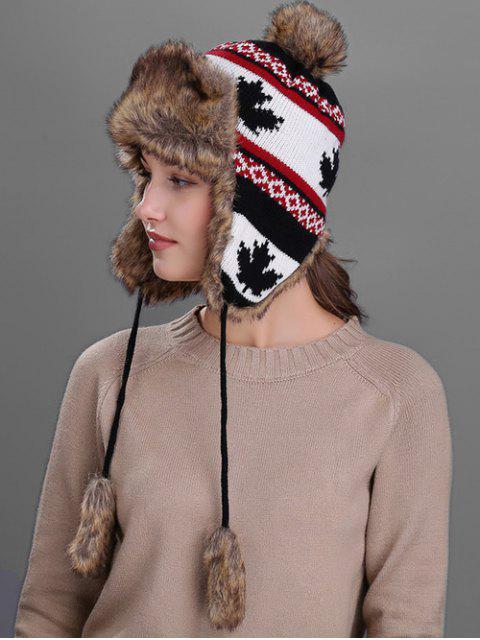 womens Maple leaves Pattern Earmuff Winter Hat - BLACK  Mobile