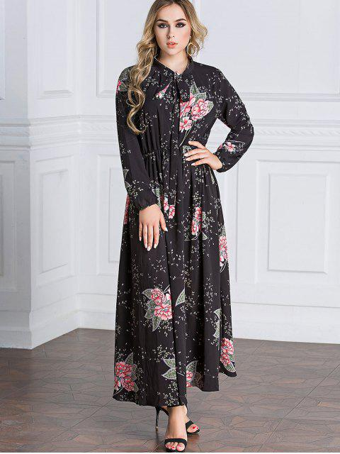 online Floral Tie Collar Maxi Dress -   Mobile