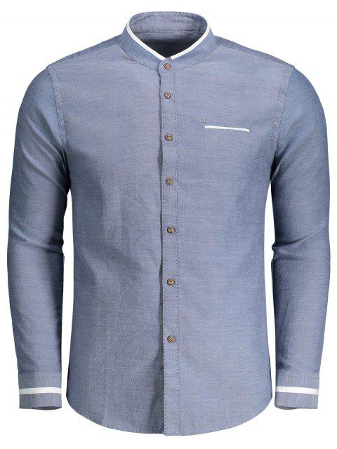 outfit Button Up Stand Neck Shirt - DENIM BLUE XL Mobile