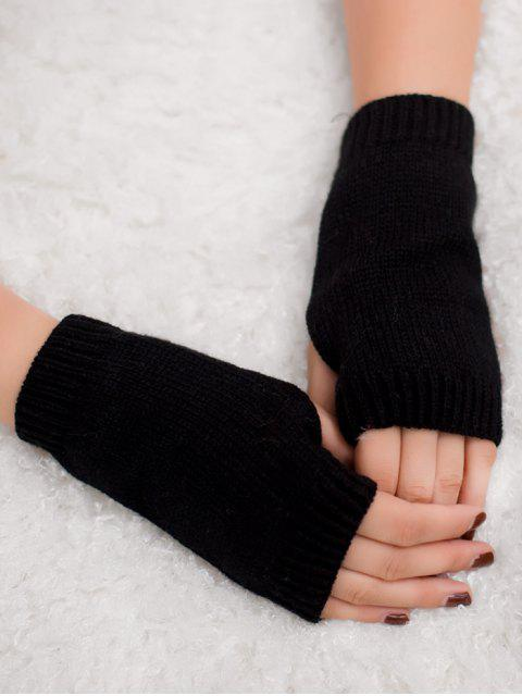 affordable Winter Crochet Fingerless Gloves - BLACK  Mobile