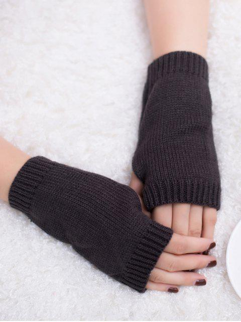 latest Winter Crochet Fingerless Gloves - DEEP GRAY  Mobile