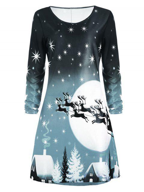 trendy Christmas Deer Long Sleeve Dress - SAGE GREEN XL Mobile