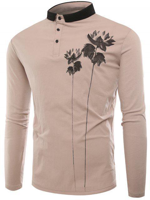 Polo Kragen Tasten Lotus Print T-Shirt - Aprikose L Mobile