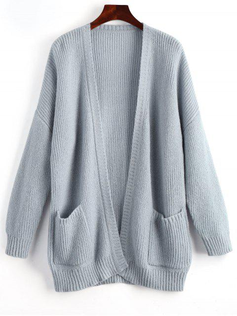 outfit Oversized Ribbed Long Sleeve Cardigan - GRAY ONE SIZE Mobile