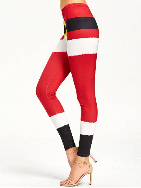 affordable Christmas Color Lump Tight Leggings - RED L Mobile