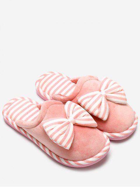 Pantoufles à rayures en peluche bowknot - Orange Jaune Taille(38-39) Mobile
