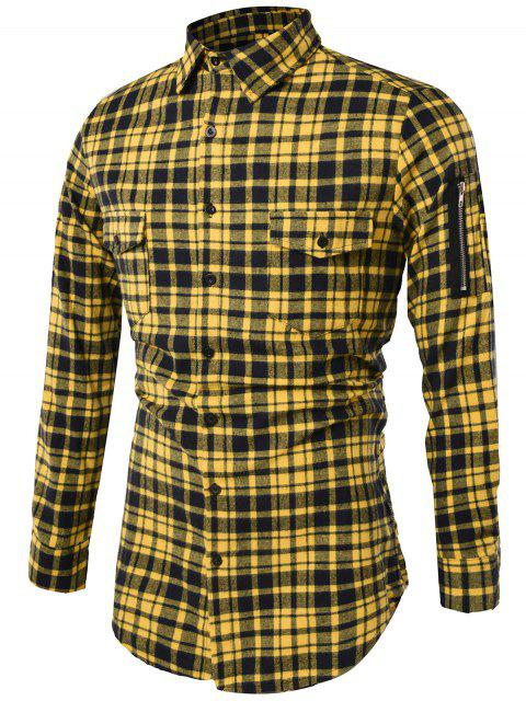 ladies Turndown Collar Tartan Longline Cargo Shirt - YELLOW L Mobile