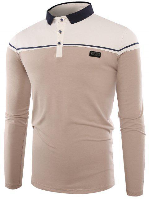 Cuello de polo con botones en color Block Applique T-shirt - Albaricoque 3XL Mobile