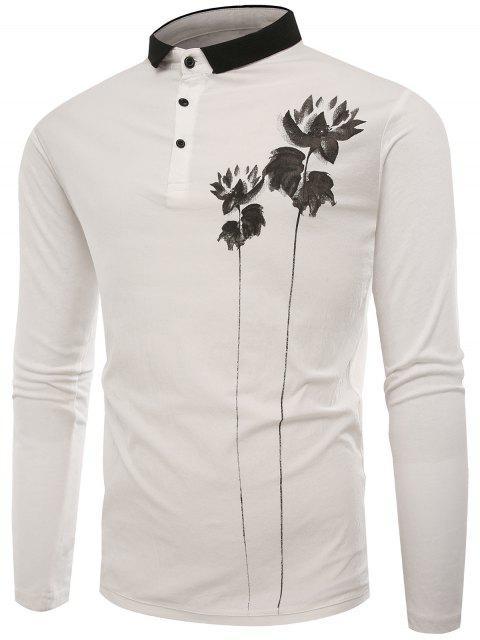 Polo Kragen Tasten Lotus Print T-Shirt - Weiß XL  Mobile