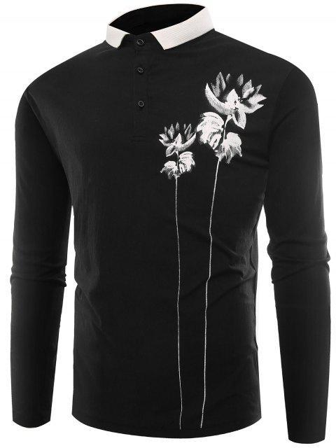 Polo Kragen Tasten Lotus Print T-Shirt - Schwarz XL  Mobile