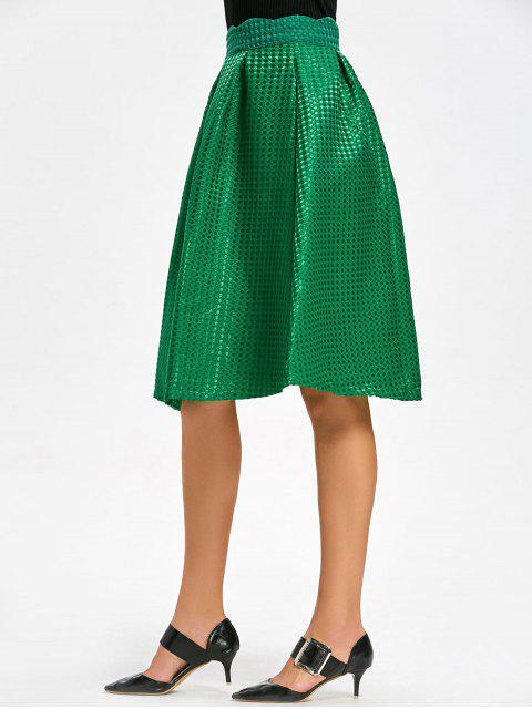 latest High Waist Scalloped Flare Skirt - GREEN M Mobile