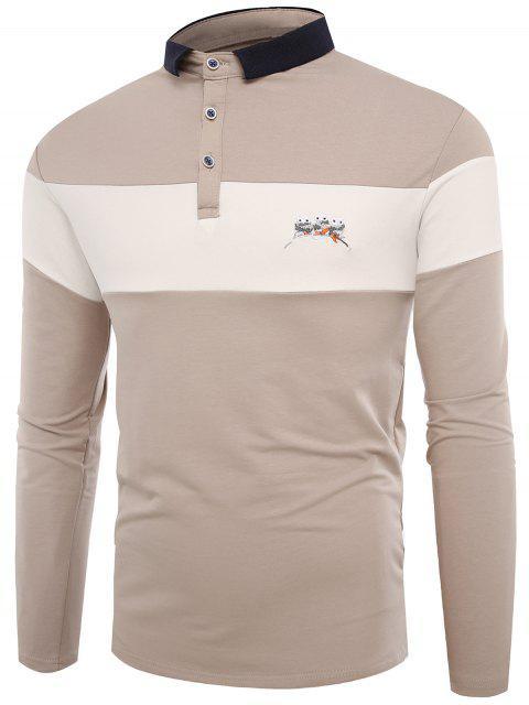 T-shirt brodé à blocs de couleur - Abricot XL Mobile