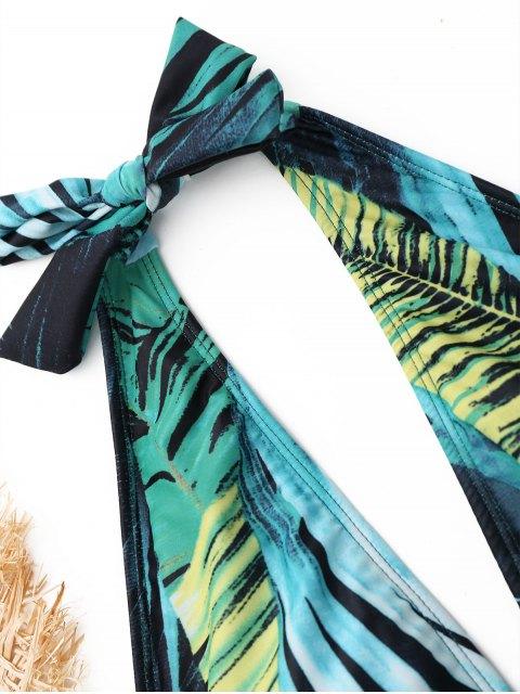 Halter Leaf Print Traje de baño de una pieza - Colores Mezclados M Mobile
