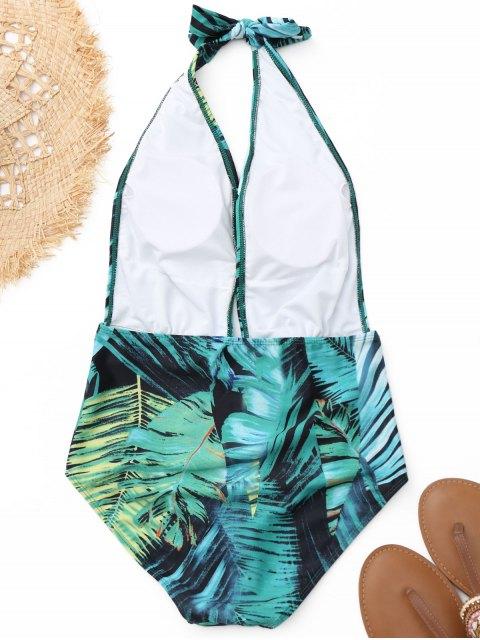 Halter Leaf Print Traje de baño de una pieza - Colores Mezclados S Mobile