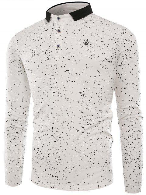 T-shirt Col Polo Boutonné et à Eclaboussure de Peinture - Blanc 2XL Mobile