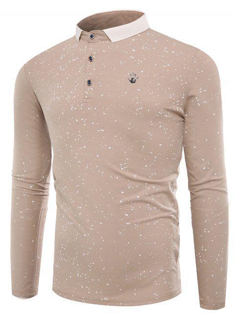 T-shirt Col Polo Boutonné et à Eclaboussure de Peinture - Abricot XL Mobile