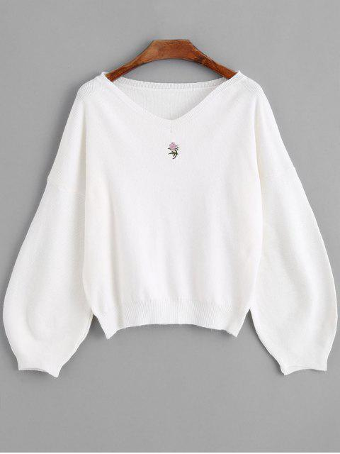 Suéter con cuello en v bordado de manga de linterna - Blanco Talla única Mobile
