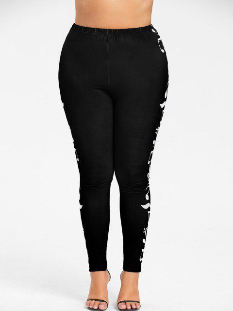 outfit Plus Size Monochrome Music Notes Leggings - BLACK 5XL Mobile