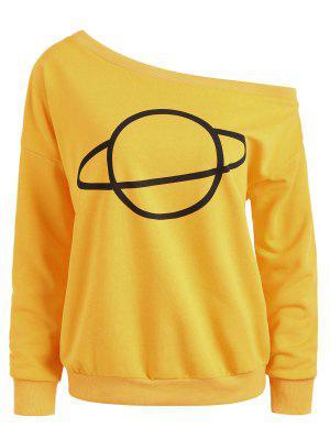 Planet Eine Schulter Sweatshirt