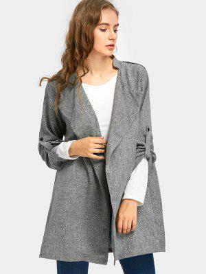 Heathered Rolled Cuff Sleeve Coat - Light Gray 2xl