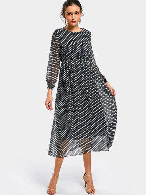 Polka Dot Long Sleeve Chiffon Dress