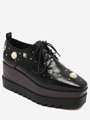 PU Leather Faux Pearl Embellished Wedge Shoes