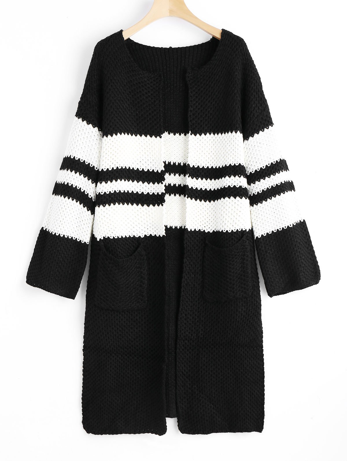 Open Front Slit Two Tone Cardigan 231438401
