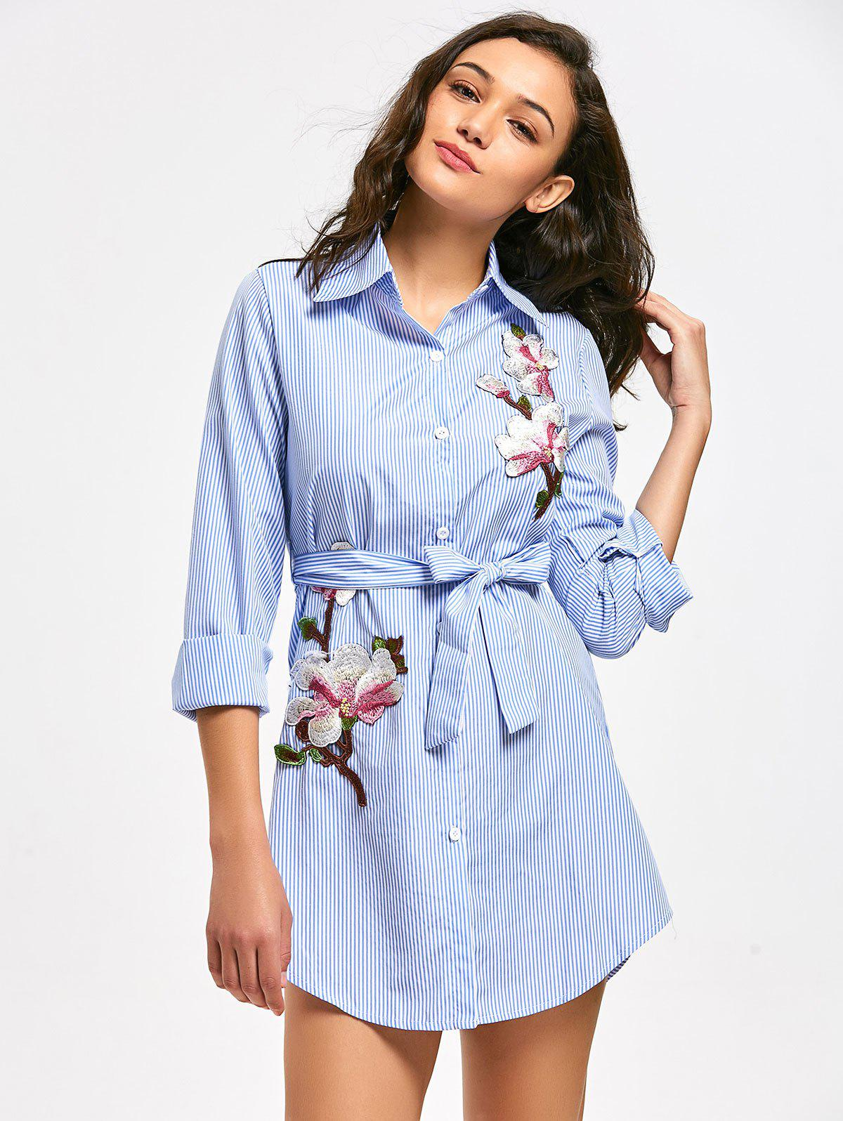 Floral Patched Belted Striped Shirt Dress