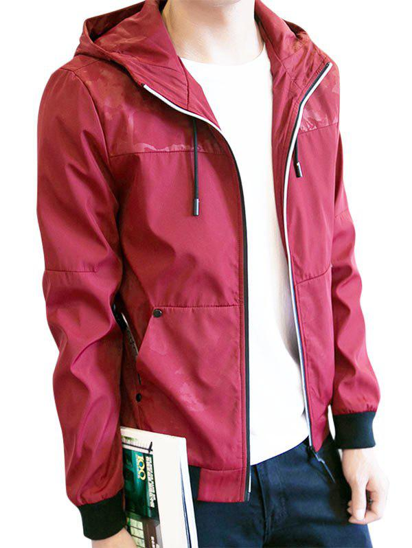 Zip Up Drawstring Hooded Track Jacket 230973011
