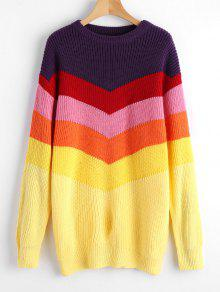 Loose Color Block Pullover Sweater - Multicolor