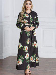 فستان شيرت ماكسي طباعة الأزهار - أسود L