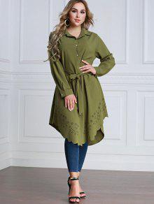 فستان شيرت ذو فتحات - الجيش الأخضر L