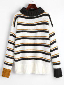 Turtleneck Stripes Pullover Sweater - Stripe