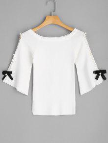 Flare Sleee Faux Pearls Jersey De Punto - Blanco