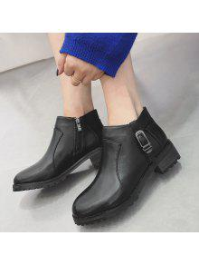 bcb90a5b8b73 40% OFF  2019 Block Heel Buckle Strap Ankle Boots In BLACK
