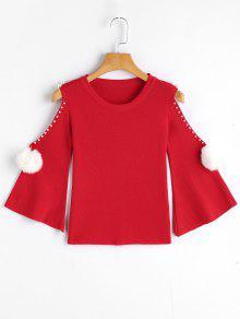 Suéter De Punto De Hombro Frío De Imitación - Rojo