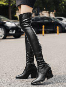 08510023625 Block Heel Faux Leather Over-the-Knee Boots BLACK