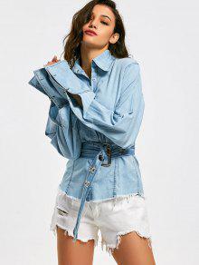 Camisa De Camiso Con Cinturón Dobladillo Deshilachado - Azul Claro S