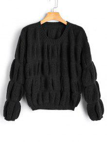 Buy Loose Lantern Sleeve Pullover Sweater - BLACK ONE SIZE