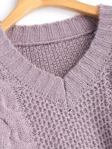 36% OFF  2019 V Neck Pullover Cable Knit Sweater In LIGHT PURPLE ONE ... aff007c2d