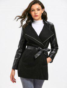 Manteau à Ceinture Avec Fermeture à Glissière Et Panneau En Simili Cuir - Noir M
