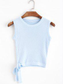 Camiseta Sin Mangas Tejida Bowknot Recortada - Azul Claro