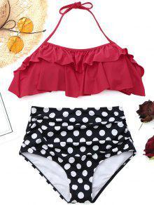Bikini Con Cintura Alta De Lunares Con Volantes - Rojo M