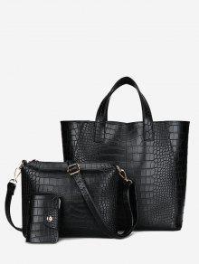 النقش 3 أجزاء بو حقيبة يد جلدية مجموعة - أسود