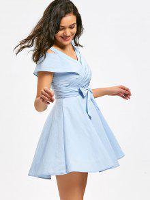 Hombridor De Ombro Frio Anel De Noiva Bowknot - Azul Claro M